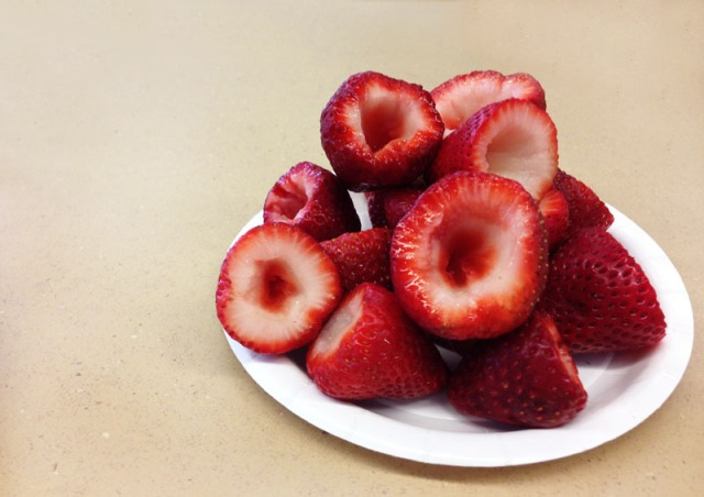hollowed out strawberries