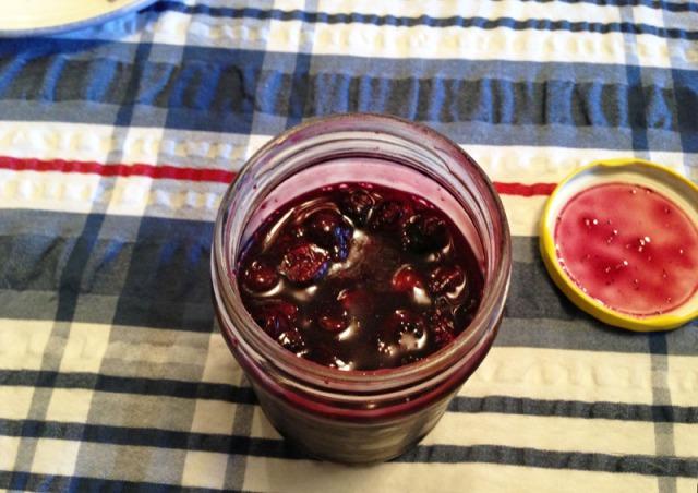 blueberry sauce in jar