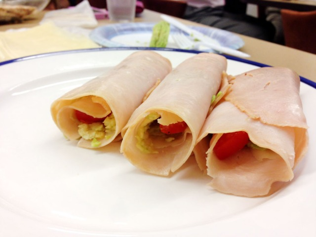 Turkey, swiss and avocado rolls - 3 finished rolls with tomato