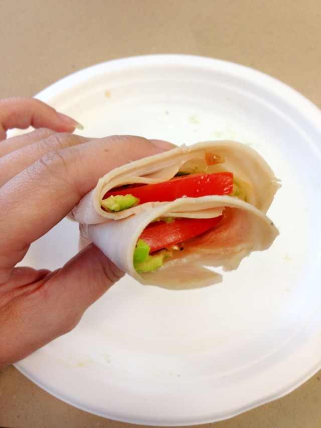 Turkey, swiss and avocado rolls - finished roll with tomato