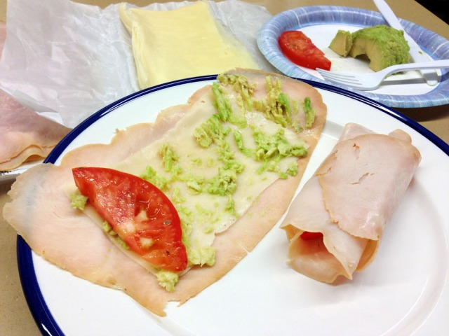 Turkey, swiss and avocado rolls - mash avocado add tomato