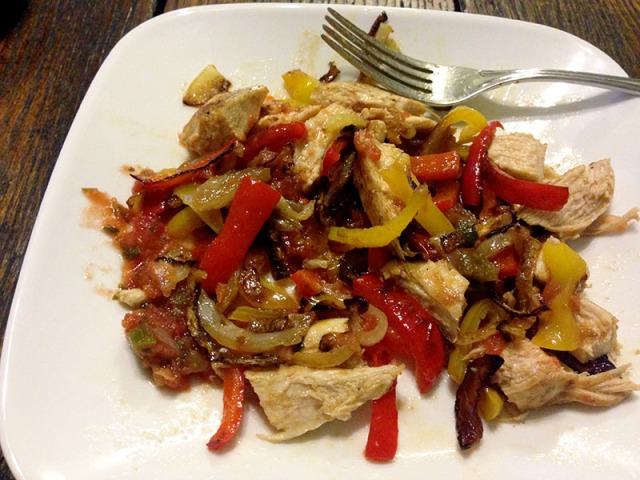 cooked mexican chicken with salsa